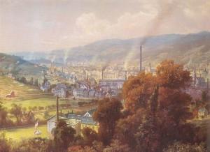 Barmen um 1870 vom Ehrenberg aus gesehen, Gemälde von August von Wille