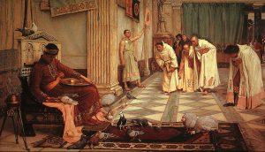 """Eroberung Roms in der Historienmalerei: John William Waterhouse """"The Favorites of the Emperor Honorius"""" - der Kaiser interessierte sich demnach vor allem für seine Hühner."""